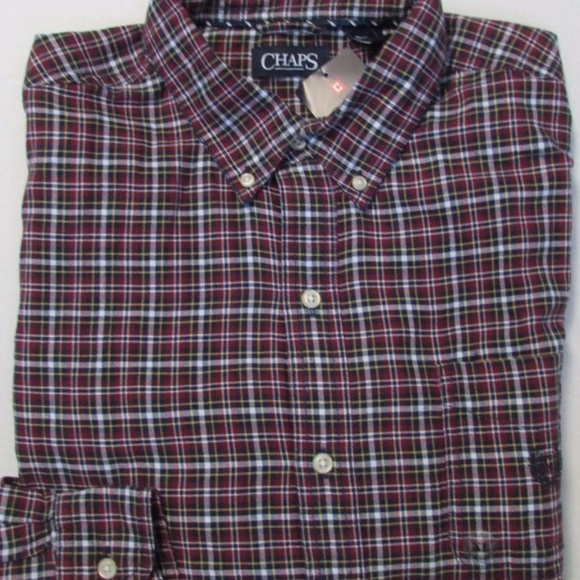 L or XL NWT Chaps Menw Blue Button Front Short Sleeve Shirt Size M Plaid
